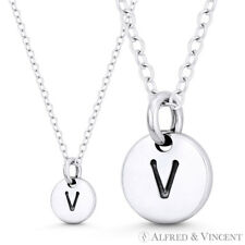 """Initial Letter """"V"""" 11mmx8mm Tiny Round Disc .925 Sterling Silver Charm / Pendant"""