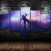 Framed Space Astronaut Galaxy Stars Universe 5 Piece Canvas Print Wall Art Decor