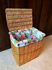 Large Laundry Basket Wicker Rattan Storage Box Lined High Quality Shabby Chic