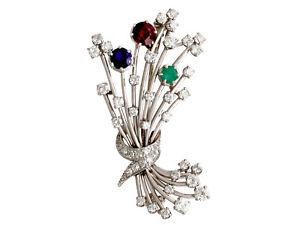 Vintage 3.20ct Diamond & 1.79ct Garnet, Emerald & Sapphire, Platinum Brooch