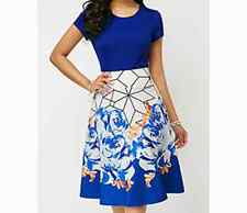 Royal Blue Top with White & Royal Blue Skirt  - New - Size 12-14