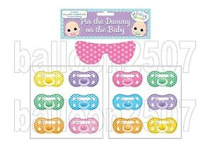 Baby Shower Party Pin Stick The Dummy Pacifier Game 12 Guests Extra Dummies