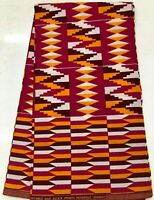 African KENTE Prints /African Print Fabric/African Clothing/RED PINK, BROWN
