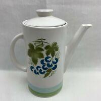 Sears Harmony House Ironstone Blue Grapes Coffee Pot - Mid-Century Modern -Japan