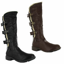 Unbranded Buckle Block Heel Boots for Women