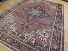 8x10 8x11 Antique Herize Oriental Area Rug hand-knotted Rust Salmon Pink Gray