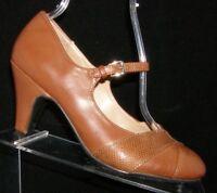 Naturalizer N5 Comfort Layton brown round toe mary jane buckle heels 7W