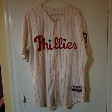 Majestic Authentic Philadelphia Phillies #3 Pence Jersey Red Pinstripes Size 50