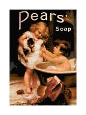 Handmade Vintage Pears Soap Ad of Children With Dog Cross-Stitch Pattern