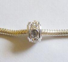 1 Silver Plated Charm Bead - Clear Rhinestones - For European/Charm Bracelet