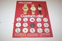 Vintage 1974 WALTHAM CUSTOM DIAL WRIST WATCH - ad sheet #0174