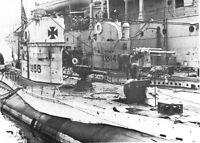 B&W WWI German Photo U-Boats Tied to Tender  WW1 U-14 World War One / 0842904