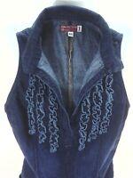 GUESS Jeans Denim Tank Top Ruffle Front Deep V-neck Blue USA Made Women's XS