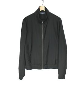 Jac + Jack Men's Size M Solid Black Zip Front Lightweight Wool Bomber Jacket