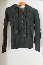 New Talula Dark Grey Knit Sweater w Hoodie Small