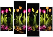 TELA di grandi dimensioni arte quadro tulipani colorati su nero floreale split multi pannello 100 cm