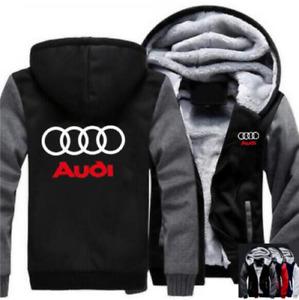 Warm Thicken Audi Hoodie Jacket Cosplay Sweater fleece coat Zipper Team Race