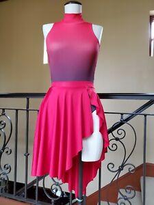 Balera Natalie MC LC Dance Set Girls 12 14 16 child l m black red leotard skirt