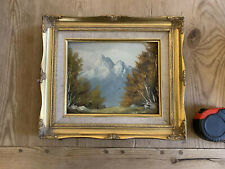 Original Oil Painting Midcentury Trees Mountains Landscape Stunning Old