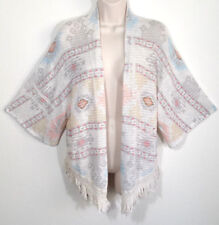 Mauve Women Sz Small Open Cardigan Sweater Beige Fringe Geometric Aztec Print