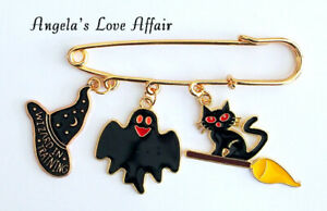 HALLOWEEN SPOOKY ENAMEL WITCH HAT 4 HANGING CHARMS SAFETY PIN BROOCH BADGE