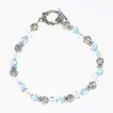 Beaded Aquamarine Crystal Silver Bracelet- Handmade March Birthstone Bracelet