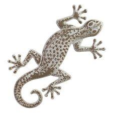 42cm Distressed Metal Lizard Gecko Garden Wall Art Ornament