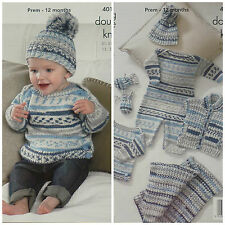 Knitting Pattern Baby All in One couverture Pull Mitaines Chapeau DK kingcole 4012