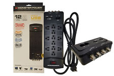 Monster Power 12 Surge Protector 6FT 2 USB Port Dual Coax & Network Port 121830