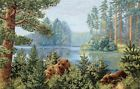 Gobelin Tapestry Textile Picture Panels Bears IN Forest Lake Crafts Fabric 51x34