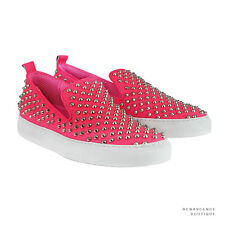 Giacomorelli Neon Pink Silver Studded Leather Punk Slip-On Sneakers IT41 UK7