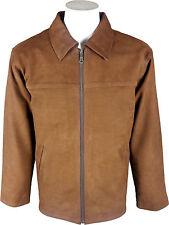 UNICORN Mens Classic Shirt Look Coat - Real Leather Jacket - Tan Nubuck #D3