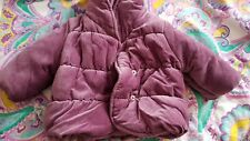 purple winter jacket velour kind padded coat 3-6 months girl f&f