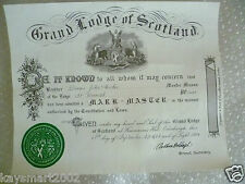 1987 Masonic Certificates-Degree of Master Mason in the Lodge St Kenneth No.1441