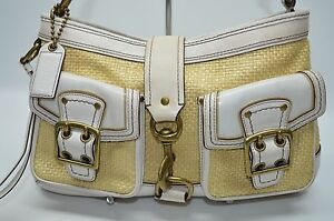 Coach Legacy Double Buckle Pocket Woven Straw White Leather Clip Satchel 105