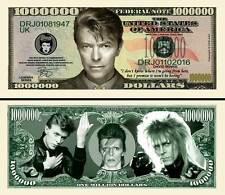 David Bowie Million Dollar Bill Collectible Fake Play Funny Money Novelty Note