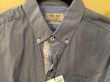 ZARA MAN Tailored Fit Blue Stripe Button Down Shirt Men's S Was $59.90 NWT