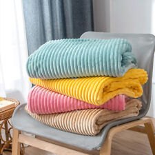 Soft Summer Throw Blanket Faux Fur Stripped Flannel Bedspread for Bed Sofa Couch