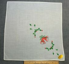 Vintage Cotton Christmas Holiday Hankie Handkerchief Bells Swiss Novelty Unused