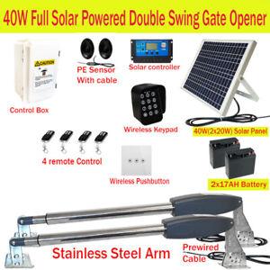 Full Solar Powered Double Swing Farm Gate Opener Automatic Motor 40W