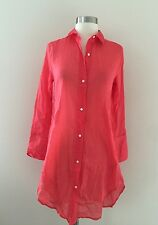 NWT J.CREW G0694 Coral Voile Beach Cover-Up Tunic Blouse Shirt Dress XS