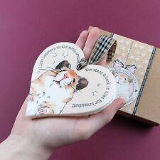 Hamster Heart Hanger Sign - Cream, tartan ribbon