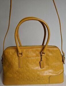 AUTHENTIC COACH Signature Jacquard Monogram Handbag Purse Shoulder Bag Satchel