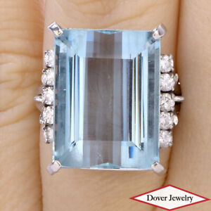 GIA Diamond 18.49ct Aquamarine Platinum Elegant Large Cocktail Ring 13.14 Gr NR