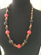 "CERVEZA DOS EQUIS XX Wood Beaded 30"" Margi Gras Style Natural Necklace (J241)"