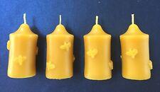 4 x Handmade 100% Pure Beeswax Votive Church Pillar Bees Candles 6.7cm x 3.5cm