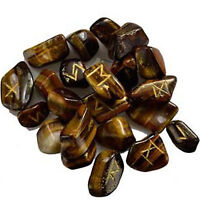 Tiger Eye Stone Tumbled Natural Gemstone Rune Alphabet Reiki Healing Crystal