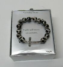 Curved Cross Sterling Sliver Cubic Zirconia Bead Gemstone Bracelet New Boxed