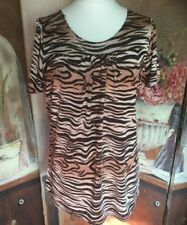 Ladies Top Size XL Leopard Print With Sequins Lightweight Animal Design Bust 44""