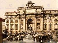 VINTAGE PHOTOGRAPHY ARCHITECTURE TREVI FOUNTAIN ROME ITALY ART PRINT CC2294